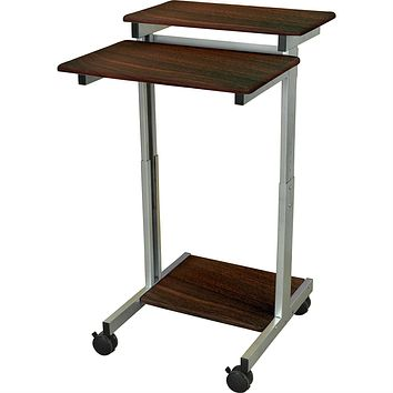 24-inch Steel Frame Standing Computer Desk on Wheels in Dark Walnut