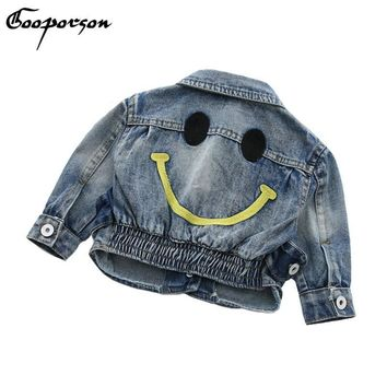 Trendy Kids Girls Jeans Jackets Smile Face Long Sleeve Short Jeackets Punk Style Kids Coat Spring Outerwear Baby Boys Denim Clothing AT_94_13