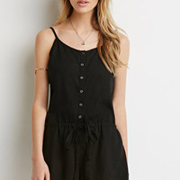 Button-Front Drawstring Romper