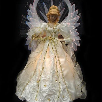Angel Tree Topper - Features Stiffened White Wings Outlined In Fiber Optics
