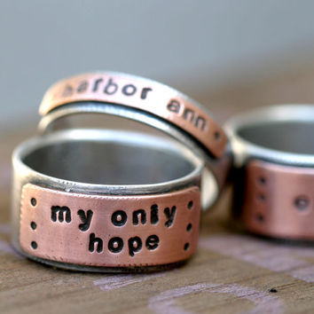 Personalized Custom Stamped Silver and Copper by monkeysalwayslook