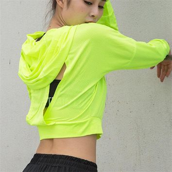 Sexy Hollow Out Yoga Shirts Workout Tops Running T-shirt for Women Long Sleeve Gym Top with Hat Sports Quick Dry T-Shirt Clothes