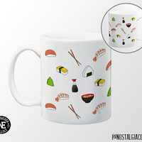Sushi Pattern Coffee Mug - 11 oz Coffee Mug - Japanese Food - Salmon Sushi - Miso Soup - Chopsticks - Wasabi - Shrimp - Onigri