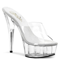 A Clear 6 Inch Heel Slide Sandal-Stripper Shoes