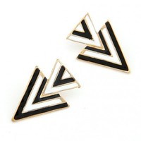 FREE SHIPPING  Black Triangle Earrings 10073043 from GowithGalaxy