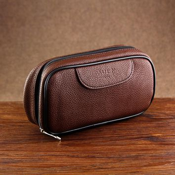 New Brown Leather Bag for 2 Smoking Pipes Best Tobacco Pouch Smoking Pipe Bag Tobacco Pipe Bag