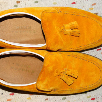 Vintage Men's Orange Suede Shoes, Hush Puppies, Vintage 1960's Tassel Slip-On Shoes Size 7 1/2, Like New Condition, Fall Oxford Slipons