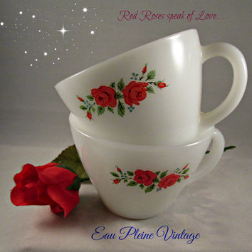 Fire King Anchor Hocking Coffee Tea Cocoa Cups Set Two Pink Roses Milkglass