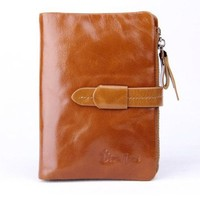 Visnow(TM) Elegant Women's Genuine Soft Cow Leather Natural Leather Purse Wallet Card Bag Business Coffee Carry Bag (Brown)