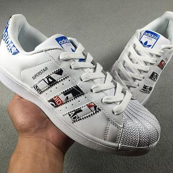 LMFON6GS Adidas Superstar Shell-toe Men Women White With Blue Logo Flats Sneakers Causel Sport Shoes