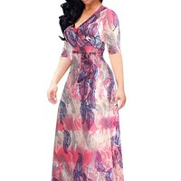 Plus Size Half Sleeve Pink Women's Maxi Dress