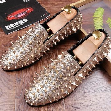 Men's Studded Rivet Spike Loafers