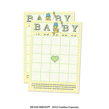 "Digital Baby Shower Bingo Cards / yellow green retro baby neutral / 5"" by 7"" / downloadable / printable / DIY / baby shower party supply"