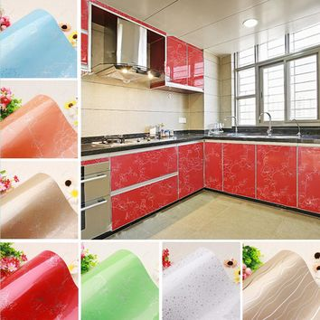 yazi Multi-Color Peony Flower PVC Wall Sticker Kitchen Cupboard Door Cover Waterproof Anti Oil Wallpaper Shelf Liner