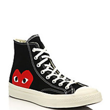 Comme des Garcons Play - Peek-A-Boo Canvas Sneakers - Saks Fifth Avenue Mobile