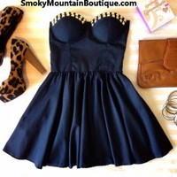 Sexy Black Bustier Dress with Studs and with Adjustable Straps - Size XS/S/M - Smoky Mountain Boutique