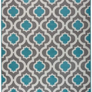 5086 Light Blue Moroccan Trellis Area Rugs