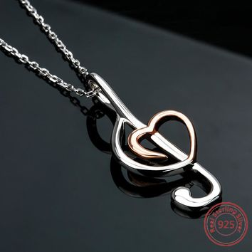 Sterling Silver Music Note Pendant Necklace