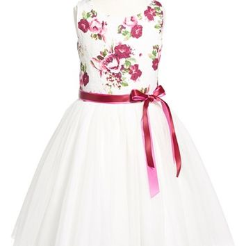 Girl's Zunie Floral Brocade & Tulle Dress,