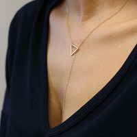 Triangle bar lariat necklace