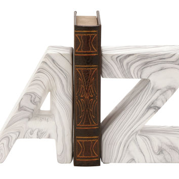 "Chic Ceramic Marble Finish Bookend Pair 6""W 8""H"