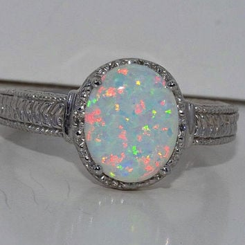 4 Carat Opal Diamond Ring White Gold Quality