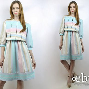 Vintage 80s Pastel Pleated Striped Dress S M L 80s Dress Day Dress Work Dress Pleated Dress Puff Sleeve Dress Pastel Dress Summer Dress