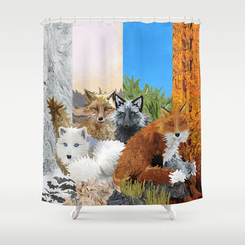 Four Shades of Fox Shower Curtain by Distortion Art