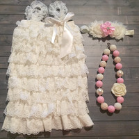 Ivory lace romper set, Photo Outfit, baby clothing, baby headband