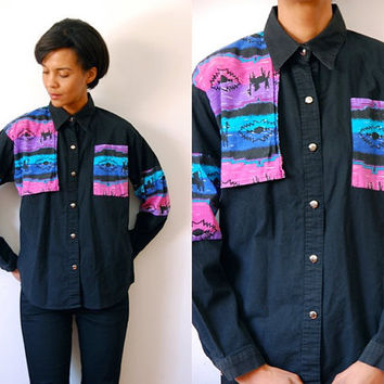 Vtg Neon Tribal Print Pink Blue Purple Black Button Down Cotton Shirt