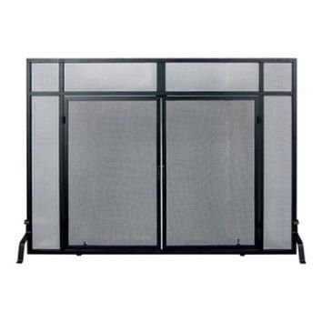 Windowpane Fireplace Mesh Screen with Cabinet Doors