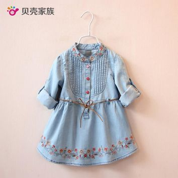 2017 New Baby Cowboy Dress Spring Autumn Girls Children's Clothing Children Embroidery Dual-Use Sleeve Dresses for Children Girl