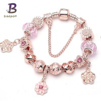 BAOPON Rose Gold Color Flower Charm Bracelets & Bangles For Women With Crystal Beads Pandora Bracelet Femme Brand Jewelry
