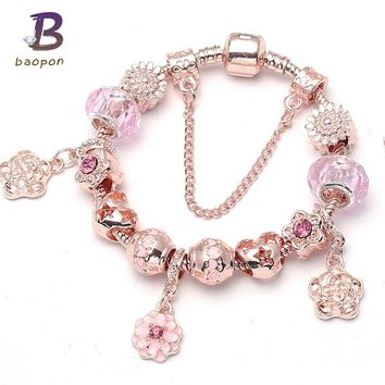 BAOPON Rose Gold Color Flower Charm Bracelets   Bangles For Women With  Crystal Beads Pandora Bracelet 2ca92047fa78