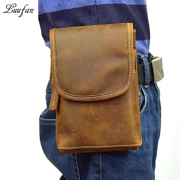 Men's genuine leather waist bag brown cell phone belt bag crazy horse leather waist pack capacity belt pack real leather pouch