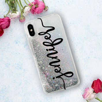 Personalized Glitter Phone Case Clear Case For iPhone 8 iPhone 8 Plus - iPhone X - iPhone 7 Plus - iPhone 6 - iPhone 6S - iPhone SE iPhone 5