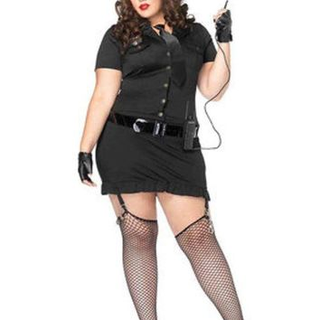 DCCKLP2 6Pc. Dirty Cop Incl Hat, Dress, Gloves, Belt, Tie & Walkie Talkie in BLACK