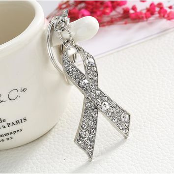 Breast Cancer Prevention/Awareness Crystal Ribbons Link Key Ring