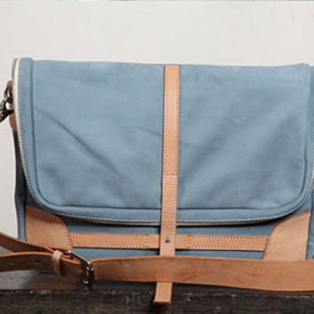Genuine Leather Handbag  Messenger Large Sky Blue