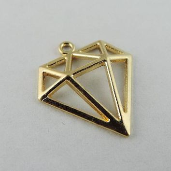 ESBONFI 40pcs/pack Rose Gold Color Hollow Triangle Alloy Charms Necklace Pendant  Women Charms jewelry findings Handmade Crafts 38930
