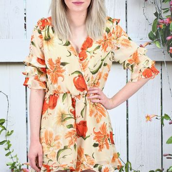 Orange Crush Floral Frill Romper {Peach Mix}