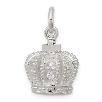 925 Sterling Silver Cubic Zirconia 3D Crown Shaped Pendant