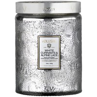 VOLUSPA WHITE CURRANTS & ALPINE LARGE EMBOSSED GLASS JAR CANDLE