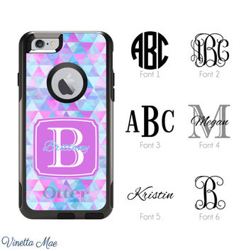 iPhone Otterbox Case for iPhone 5, 5s, 6, 6 Plus Monogrammed Pink Blue Geometric Triangles Initials Personalized Cell Phone Case Cover 1162