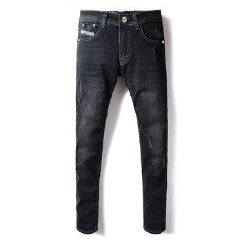 2018 New Fashion Men's Jeans Black Color Casual Pants Elastic Skinny Fit Classical Jeans Stretch  Brand Ripped Jeans Men