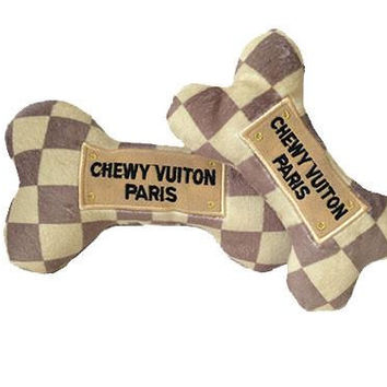 Chewy Vuiton Checker Bone Plush Dog Toy