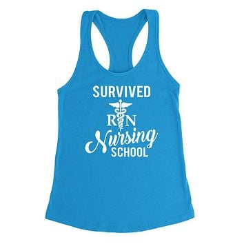 Survived nursing school funny humor cool cute gifts for nurse graduate student graduation  Ladies  Racerback Tank Top