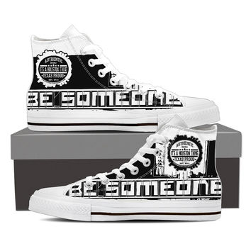 "Men's White High Top ""Be Someone"" Shoes"