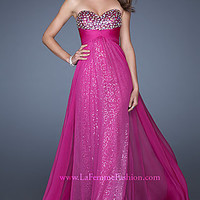 Strapless Sequin Evening Gown by La Femme