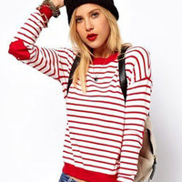 Love Hearts Embroidered Striped Long Sleeve Pullover Sweater